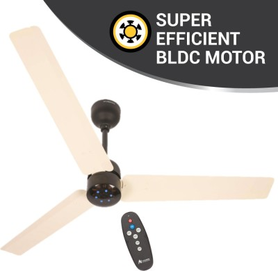 Atomberg Renesa 1200 mm BLDC Motor with Remote 3 Blade Ceiling Fan(Ivory Black, Pack of 1)