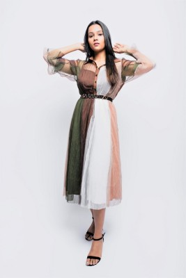 ANVI Be Yourself Women Fit and Flare Multicolor Dress