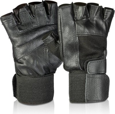 shifter BASIC LEATHER GYM GLOVES WITH WRIST SUPPORT Gym & Fitness Gloves(Black)