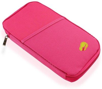sarvopari mega mall Travel Passport Credit ID Card Cash Holder Organizer Wallet Purse Holder Case Document Bag(Pink)