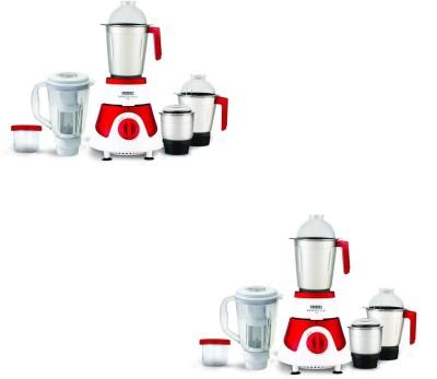 USHA Mixer Grinder MG 3775 Pack of 2 750 Mixer Grinder (4 Jars, Red,white)