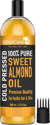 WishCare Pure Cold Pressed Sweet Almond Oil For Healthy Hair And Glowing Skin(200)