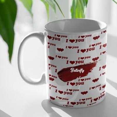 Beautum I Love you Butterfly Printed White Ceramic Coffee Mug(350 ml)