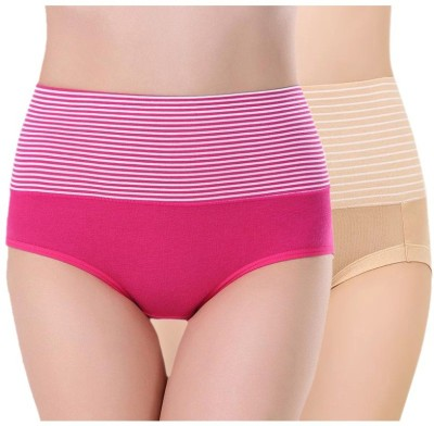 PLUMBURY Women Hipster Pink, Beige Panty(Pack of 2)
