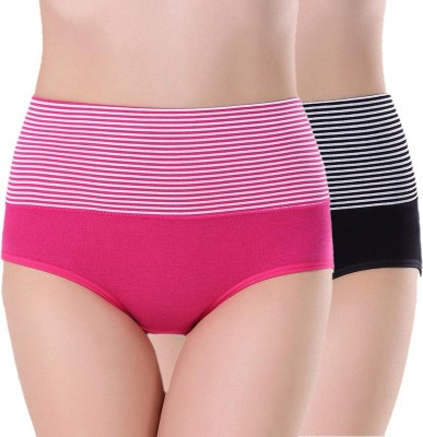 PLUMBURY Women Hipster Pink, Black Panty(Pack of 2)