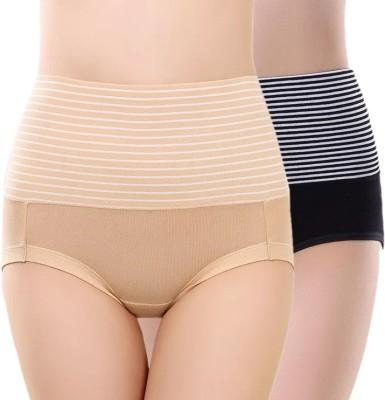 PLUMBURY Women Hipster Black, Beige Panty(Pack of 2)