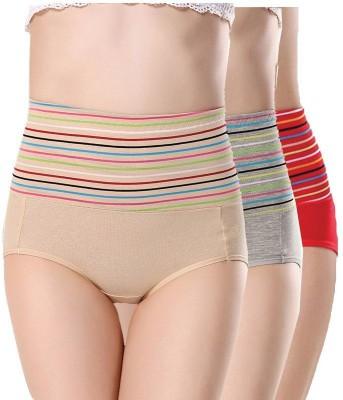 PLUMBURY Women Hipster Red, Grey, Beige Panty(Pack of 3)