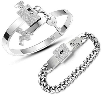 Jewelgenics Stainless Steel Titanium Bracelet Set(Pack of 2)