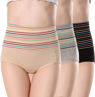 PLUMBURY Women Hipster Black, Grey, Beige Panty(Pack of 3)