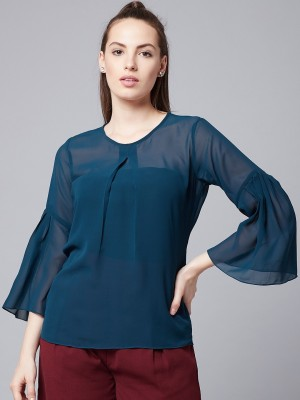 Athena Casual Bell Sleeve Solid Women Dark Blue Top