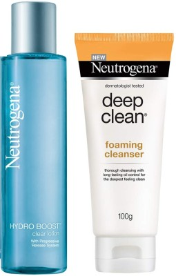 Neutrogena Skin Care Cleanser With Lotion Combo Pack - Deep Clean Foaming Cleanser(100Gm);Hydro Boost Clear Lotion150 Ml(2 Items in the...
