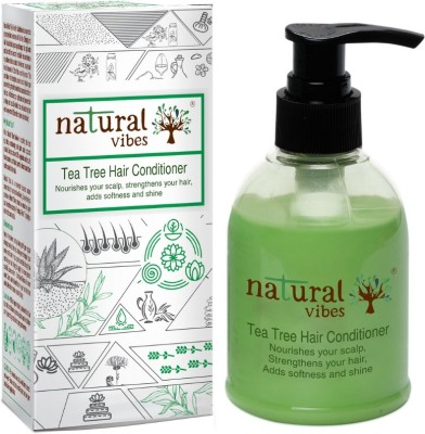 Natural Vibes Ayurvedic Tea Tree Hair Conditioner 150 ml ~ Nourishes your scalp, strengthens your hair, adds softness and shine. (No Parabens, Sulphate, SLS, SLES, Silicon)(150 ml)