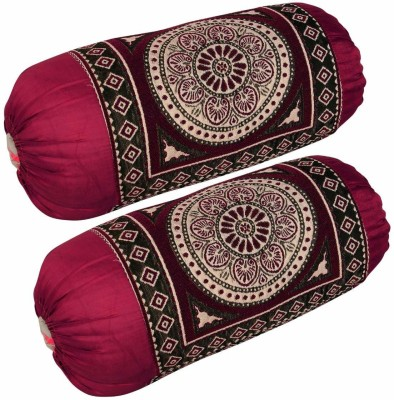 Home Elite Floral Bolsters Cover(Pack of 2, 40 cm*75 cm, Maroon)