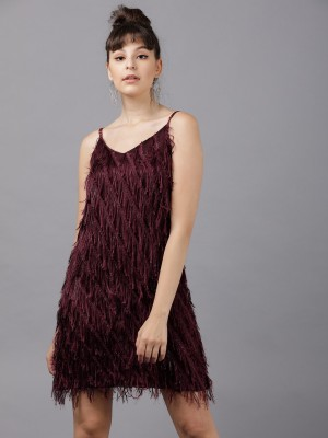 TOKYO TALKIES Women A-line Maroon Dress