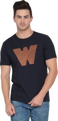 NAXTA Printed Men Round Neck Dark Blue T-Shirt