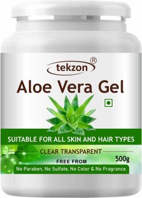 tekzon Pure Natural Aloe Vera Gel (500 GM ) - Ideal for Face, Skin Treatment, Acne Scars, Hair Treatment(500 g)
