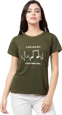 Kissero Printed Women Round Neck Green T-Shirt