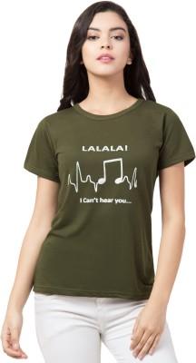 AMULYAM FASHION Printed Women Round Neck Green T-Shirt