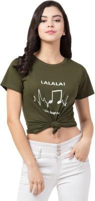LOOKS18 Graphic Print Women Round Neck Green T-Shirt