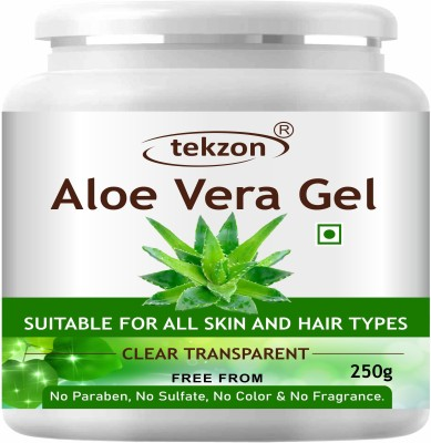 tekzon Pure Natural Aloe Vera Gel (250 GM ) - Ideal for Face, Skin Treatment, Acne Scars, Hair Treatment(250 g)