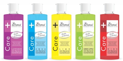 True Derma Essentials Anti-Bacterial Care Hand Wash (Lavender, Aqua, Lime, Green Apple, Wine) Hand Wash Bottle (5 x 580 ml)