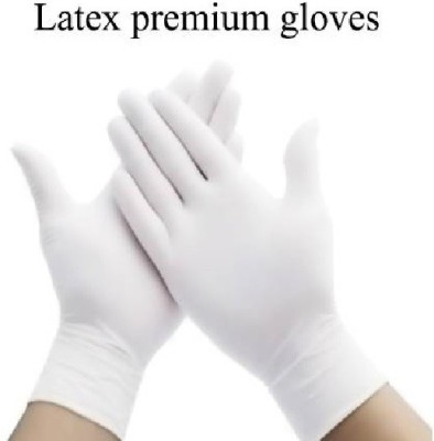 DKND Ventures Latex gloves available in medium size for men women and kids disposable hand gloves protect against germs made in india gloves and Latex Surgical Gloves Pack of 10 White Color Latex Surgical Gloves(Pack of 10)