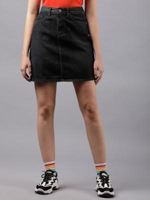 Tokyo Talkies Solid Women Flared Black Skirt