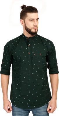 Asian & Fitch Men Printed Straight Kurta(Green)