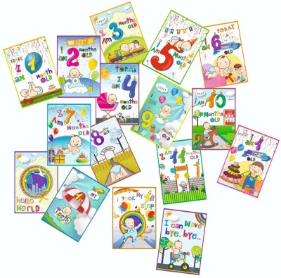 Vantagekart Newborn Baby Monthly Age Milestone Cards - Baby Shower Gift for Mom/Dad/Parents to Be (Paper, A5 Size, 21 x 14.8 x0.1 cm, Multicolour) -Set of 16 Cards Greeting Card(Multicolor, Pack of 16)