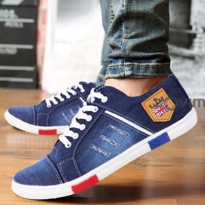 Zovim men shoes jeans Canvas Shoes For Men(Blue)