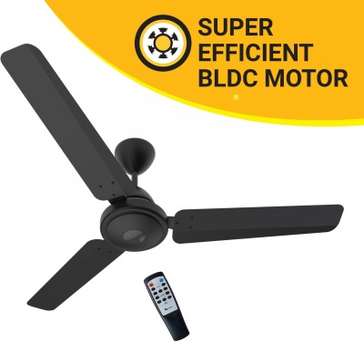 Atomberg Efficio 1200 mm BLDC Motor with Remote 3 Blade Ceiling Fan(Matte Black, Pack of 1)