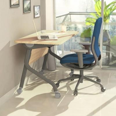 Godrej Interio Fold Engineered Wood Study Table(Free Standing, Finish Color - Siam Teak)