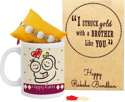 TIED RIBBONS Mug Set(1 Designer Rakhi, Roli Chawal, 1 Mini Rakshabandhan Card, 1 Rakshabandhan Special Coffee Mug)