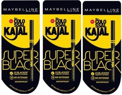 Maybelline Colossal Kajal Super Black Pack Of 3(Black)
