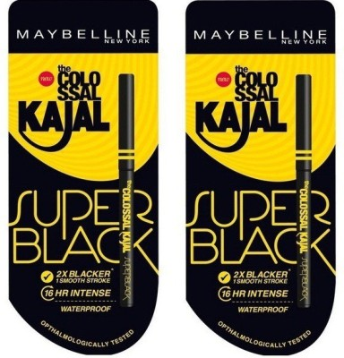 Maybelline Super black colossal kajal pack of 2(Black)