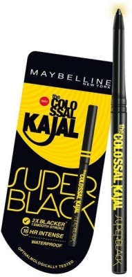 Maybelline colossal super black kajal pack of 2(black)
