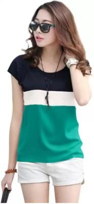 TARGET SUCCESS Color Block Women Round Neck Green T-Shirt