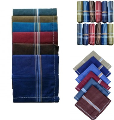 royal mart 12 Pieces Dark Colour 15 Inch Complete Face Cover Handkerchief Men's Cotton Striped | Comfortable and Convenient for Long Hours | Red Box | Multi Colour| Handkerchief (Pack of 12) [