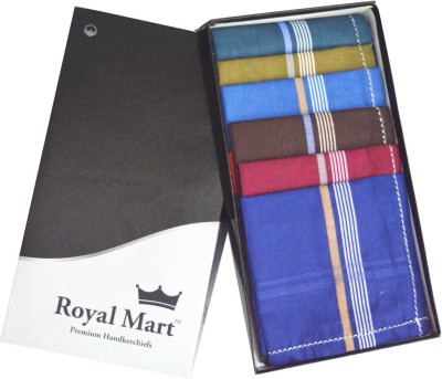 royal mart 12 Pieces Dark Colour 15 Inch Complete Face Cover Handkerchief Men's Cotton Striped | Comfortable and Convenient for Long Hours | Multi Colour| [
