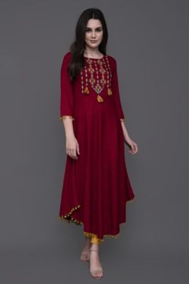 GULMOHAR JAIPUR Women Embroidered Asymmetric Kurta(Maroon)