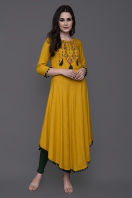 GULMOHAR JAIPUR Women Embroidered Asymmetric Kurta(Yellow)