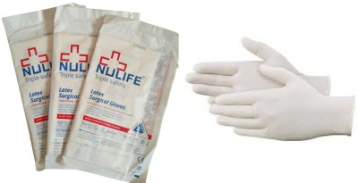 Nulife Sterile Triple Safety (pairs-3) Latex Surgical Gloves(Pack of 6)