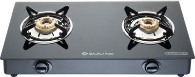 BAJAJ Bajaj 2BR-GP6 Two Burner Toughened Glass Aluminium Manual Gas Stove(2 Burners)