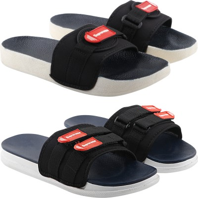 Chevit Pack of 02 Pairs Latest Comfort Flip Flops Men's Slipper Slides Slides