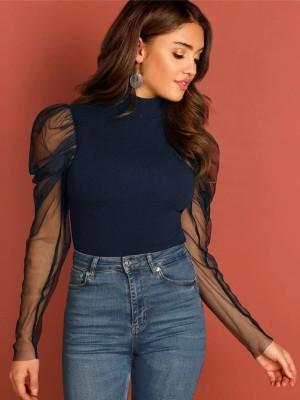 DARZI Casual Full Sleeve Solid Women Blue Top