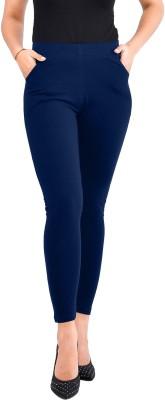 Misaina Ankle Length Legging(Blue, Solid)