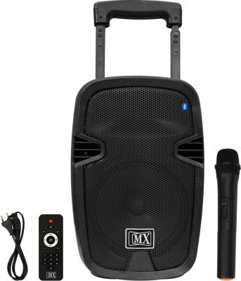 MX 8 inches Portable Multimedia Trolley Speaker With Built in Amplifier Battery Bluetooth Usb Radio Fm Sd Card Aux Input   Wireless Microphone Remote