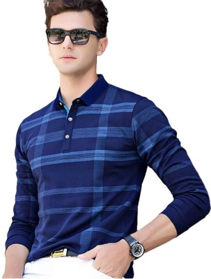 Try This Checkered Men Collared Neck Blue T-Shirt