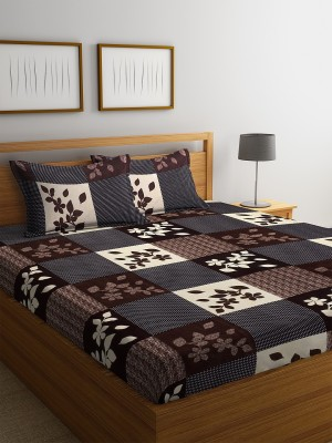 Fashion String 120 TC Microfiber Double Floral Bedsheet(Pack of 1, Brown)