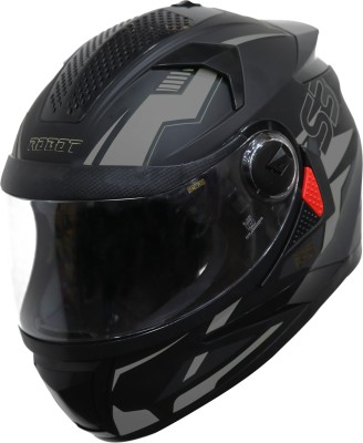 Steelbird SBH-17 Terminator Full Face Graphic Helmet in Matt Black Grey Motorbike Helmet(Black Grey)